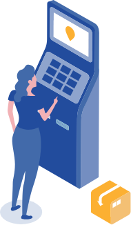 Person using kiosk